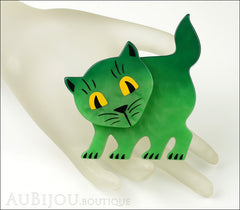 Marie-Christine Pavone Brooch Cat Flabbergasted Green Galalith Mannequin
