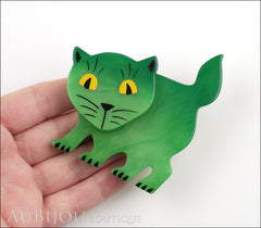 Marie-Christine Pavone Brooch Cat Flabbergasted Green Galalith Model