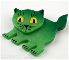 Marie-Christine Pavone Brooch Cat Flabbergasted Green Galalith Side