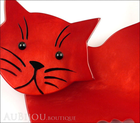 Marie-Christine Pavone Brooch Cat Fripon Red Galalith Gallery