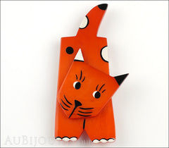 Marie-Christine Pavone Brooch Cat Lego Orange Galalith Paris France Front