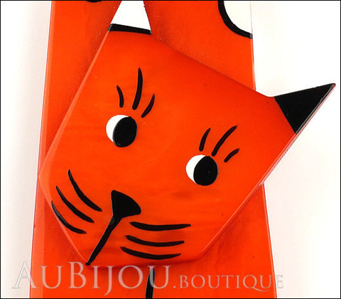 Marie-Christine Pavone Brooch Cat Lego Orange Galalith Paris France Gallery