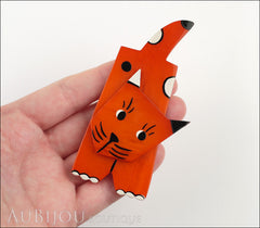 Marie-Christine Pavone Brooch Cat Lego Orange Galalith Paris France Model