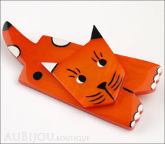 Marie-Christine Pavone Brooch Cat Lego Orange Galalith Paris France Side