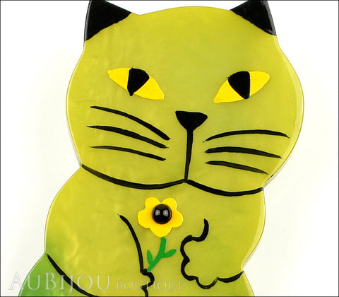 Marie-Christine Pavone Brooch Cat Leon Green Galalith Paris France Gallery