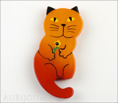 Marie-Christine Pavone Brooch Cat Leon Orange Galalith Paris France Front