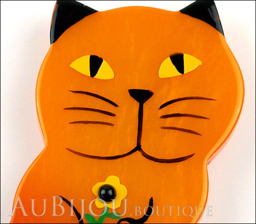 Marie-Christine Pavone Brooch Cat Leon Orange Galalith Paris France Gallery