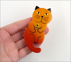 Marie-Christine Pavone Brooch Cat Leon Orange Galalith Paris France Model