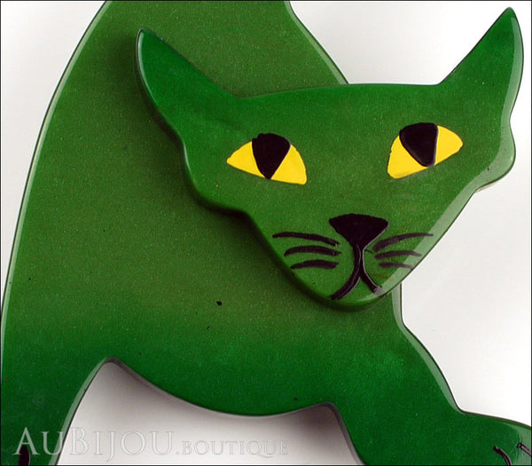Marie-Christine Pavone Brooch Cat Mephisto Dark Green Galalith Paris France Gallery