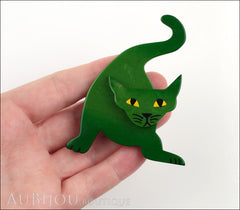 Marie-Christine Pavone Brooch Cat Mephisto Dark Green Galalith Paris France Model