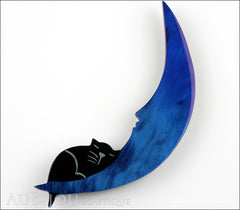 Marie-Christine Pavone Brooch Cat On The Moon Blue Galalith Front