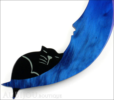 Marie-Christine Pavone Brooch Cat On The Moon Blue Galalith Gallery