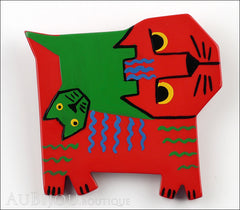 Marie-Christine Pavone Brooch Cat Picasso Red Green Galalith Limited Edition Front