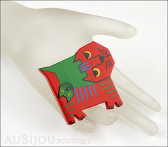 Marie-Christine Pavone Brooch Cat Picasso Red Green Galalith Limited Edition Mannequin