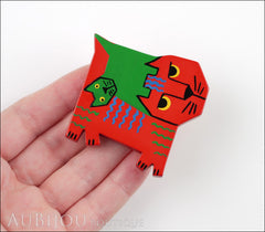 Marie-Christine Pavone Brooch Cat Picasso Red Green Galalith Limited Edition Model