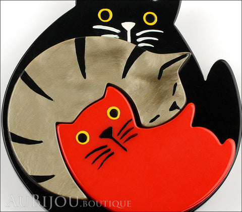 Marie-Christine Pavone Brooch Cat Puzzle Black Grey Red Galalith Gallery