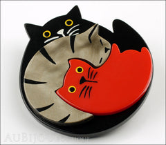 Marie-Christine Pavone Brooch Cat Puzzle Black Grey Red Galalith Side