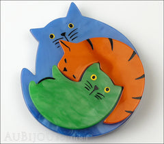 Marie-Christine Pavone Brooch Cat Puzzle Blue Orange Green Galalith Front