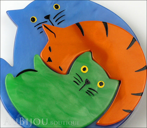 Marie-Christine Pavone Brooch Cat Puzzle Blue Orange Green Galalith Gallery