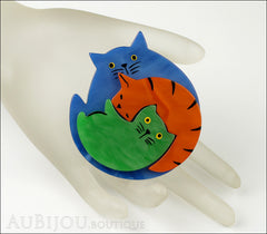 Marie-Christine Pavone Brooch Cat Puzzle Blue Orange Green Galalith Mannequin