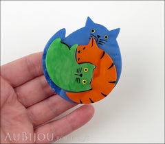 Marie-Christine Pavone Brooch Cat Puzzle Blue Orange Green Galalith Model