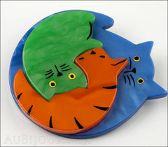 Marie-Christine Pavone Brooch Cat Puzzle Blue Orange Green Galalith Side