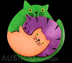 Marie-Christine Pavone Brooch Cat Puzzle Green Galalith Paris France Black