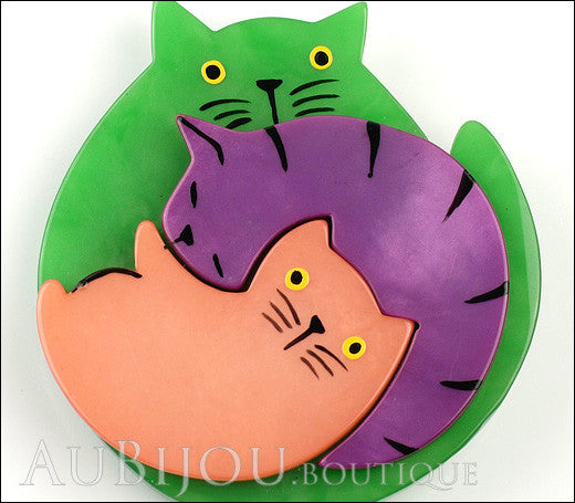 Marie-Christine Pavone Brooch Cat Puzzle Green Galalith Paris France Gallery
