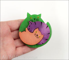 Marie-Christine Pavone Brooch Cat Puzzle Green Galalith Paris France Model