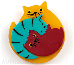 Marie-Christine Pavone Brooch Cat Puzzle Orange Burgundy Turquoise Galalith Front