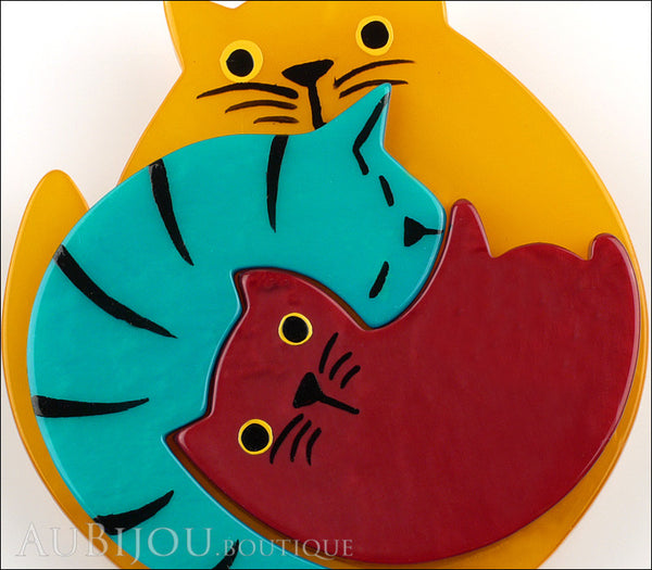 Marie-Christine Pavone Brooch Cat Puzzle Orange Burgundy Turquoise Galalith Gallery
