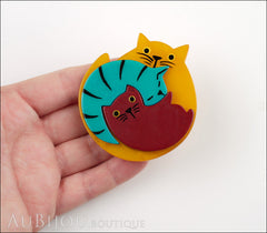 Marie-Christine Pavone Brooch Cat Puzzle Orange Burgundy Turquoise Galalith Model
