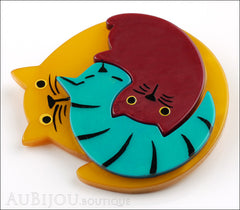 Marie-Christine Pavone Brooch Cat Puzzle Orange Burgundy Turquoise Galalith Side
