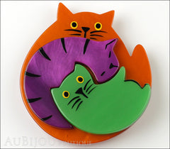 Marie-Christine Pavone Brooch Cat Puzzle Orange Purple Green Galalith Front