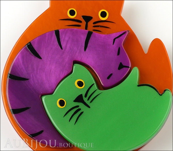 Marie-Christine Pavone Brooch Cat Puzzle Orange Purple Green Galalith Gallery