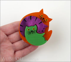 Marie-Christine Pavone Brooch Cat Puzzle Orange Purple Green Galalith Model