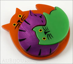 Marie-Christine Pavone Brooch Cat Puzzle Orange Purple Green Galalith Side