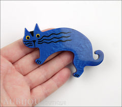 Marie-Christine Pavone Brooch Cat Rasputin Blue Galalith Model