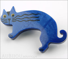 Marie-Christine Pavone Brooch Cat Rasputin Blue Galalith Side
