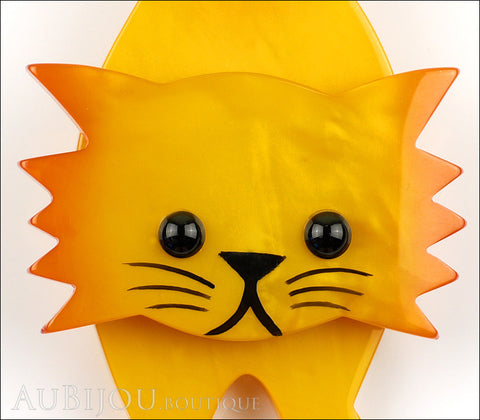 Marie-Christine Pavone Brooch Cat Roc Yellow Orange Galalith Gallery