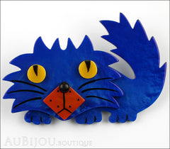 Marie-Christine Pavone Brooch Cat Rocky Blue Galalith Paris France Front