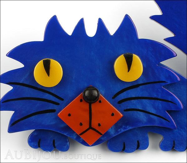 Marie-Christine Pavone Brooch Cat Rocky Blue Galalith Paris France Gallery