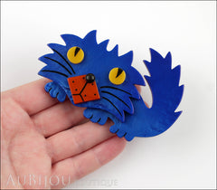 Marie-Christine Pavone Brooch Cat Rocky Blue Galalith Paris France Model