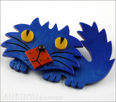Marie-Christine Pavone Brooch Cat Rocky Blue Galalith Paris France Side