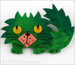 Marie-Christine Pavone Brooch Cat Rocky Green Pink Galalith Front
