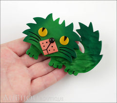 Marie-Christine Pavone Brooch Cat Rocky Green Pink Galalith Model