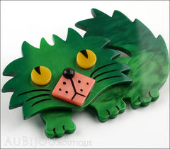 Marie-Christine Pavone Brooch Cat Rocky Green Pink Galalith Side