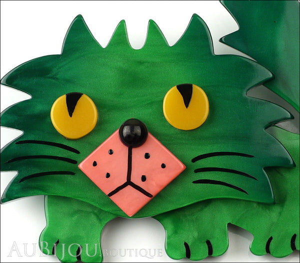 Marie-Christine Pavone Brooch Cat Rocky Green Pink Galalith Gallery