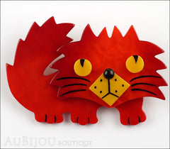 Marie-Christine Pavone Brooch Cat Rocky Red Yellow Galalith Front