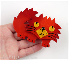 Marie-Christine Pavone Brooch Cat Rocky Red Yellow Galalith Model